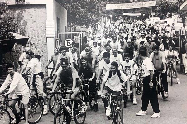Memória Rudge Ramos: Em outubro de 1994, a Universidade Metodista virava sede da terceira edição do Passeio Ciclístico do Grande ABC. A foto é de Ricardo Fauzetta - Foto: Arquivo/RRO